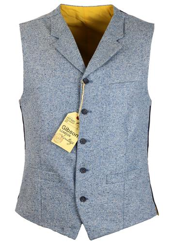GIBSON LONDON RETRO MOD DONEGAL TWEED WAISTCOAT