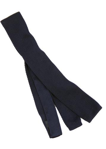 GIBSON LONDON Navy 60s Mod Knitted Square End Tie