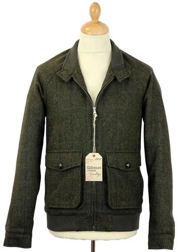 GIBSON LONDON RETRO MOD TWEED HARRINGTON JACKET