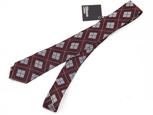 GIBSON LONDON Retro 60s Mod Plaid Check Skinny Tie