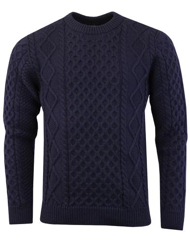 Aran GLOVERALL Made in England Cable Knit Jumper N