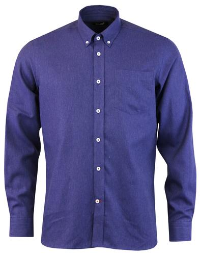 GLOVERALL Mod Button Down Brushed Twill Shirt BLUE