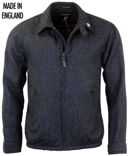 GLOVERALL RETRO MOD DONEGAL TWEED BOMBER JACKET