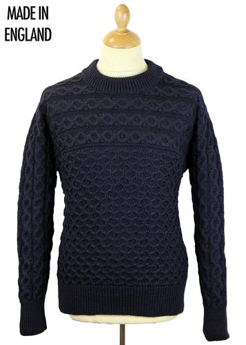 GLOVERALL RETRO MOD CABLE ARAN JUMPER NAVY