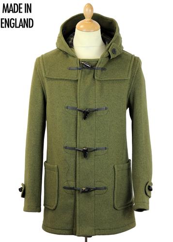 GLOVERALL RETRO MOD 70S DUFFLE COAT KALE GREEN
