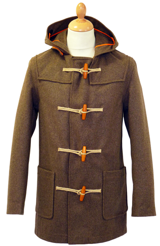 GLOVERALL 3250 Mid Melton Retro Mod Brown Duffle Coat
