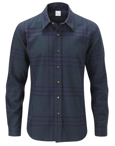 GLOVERALL MENS RETRO CLASSIC NAVY CHECK SHIRT