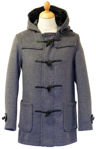 GLOVERALL 3251 Mid Melton Retro Mod Grey Duffle Coat