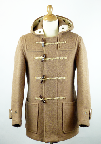 GLOVERALL Mid Length Monty 3210 Retro Mod Duffle Coat Beige