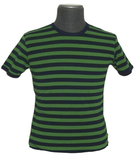 7e073ea773 Retro Sixties Striped T-Shirt in Green/Black | RetroRocket Indie Tee
