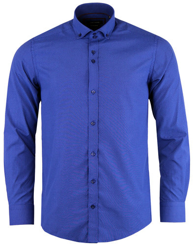 GUIDE LONDON Retro 60s Mod Circle Dot Shirt BLUE