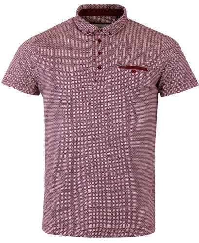 GUIDE LONDON Geo Tile Print Retro Mod Polo Shirt
