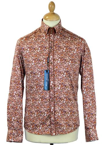 GUIDE LONDON RETRO MOD 70S AUTUMN FLORAL SHIRT