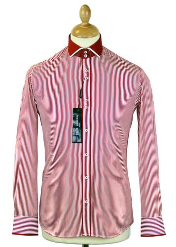 GUIDE LONDON RETRO MOD 70S BOLD STRIPE SHIRT RED