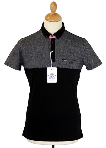 GUIDE LONDON Dogtooth Marl Retro 60s Mod Polo Top