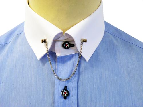 Guide london bar collar shirt retro mod pin collar blue for Tie bar collar shirt