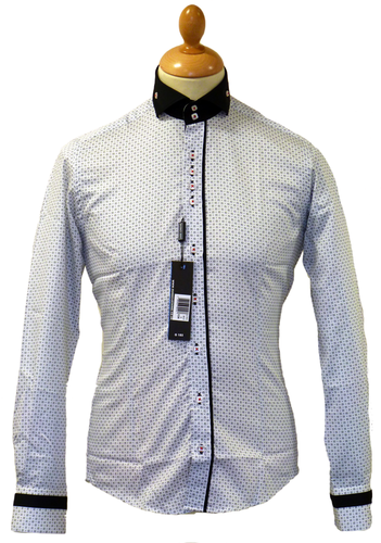 GUIDE LONDON Cutaway Collar Mod Op Art Star Shirt