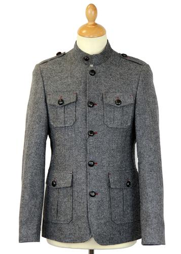GUIDE LONDON RETRO MOD MILITARY TUNIC JACKET GREY