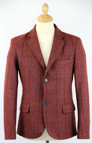 GUIDE LONDON Retro 60s Mod Tweed Check Blazer (Bu)