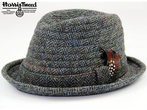 Orkney Harris Tweed Retro Mod Trilby Hat (Grey)