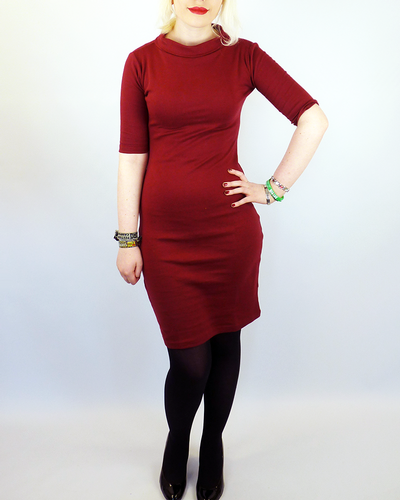 HEARTBREAKER RETRO SUPER SPY DRESS BURGUNDY MOD