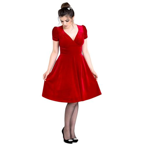 Velvet Retro Party Dress by Hell Bunny