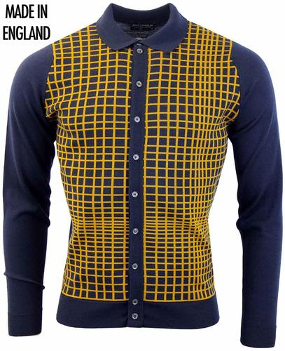 Tailing JOHN SMEDLEY Mod Grid Check Polo Cardigan