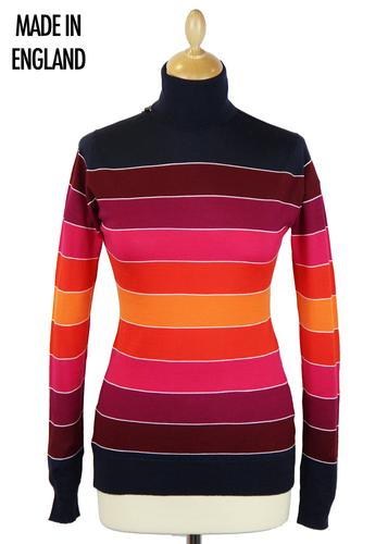 Joye JOHN SMEDLEY Retro Block Stripe Roll Neck Top