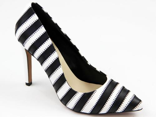 LACEYS WOMENS RETRO HIGH HEEL SHOES STRIPED BLACK