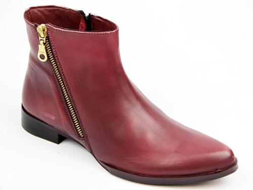 LACEYS WOMENS DOUBLE ZIP RETRO BOOTS BURGUNDY