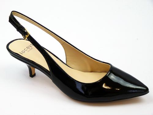 LACEYS Grace Retro 60s Vintage Kitten Heel Leather Shoes