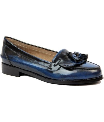 LACEYS CASSIDY TASSLE 1960s MOD LOAFER SHOES BLUE