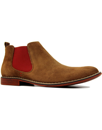 LACUZZO Mod Suede Desert Chelsea Boots TAN/RED