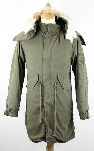 LAMBRETTA M51 Retro Indie Mod Fishtail Parka Jacket Khaki