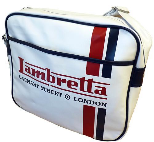 04548e95c3e5 LAMBRETTA SIXTIES MOD RETRO RACING STRIPE LOGO SHOULDER FLIGHT BAG