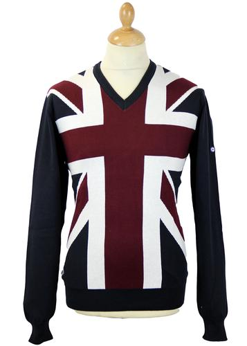LAMBRETTA UNION JACK RETRO MOD JUMPER NAVY RED