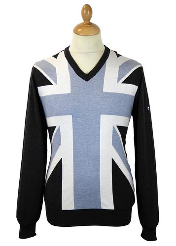 LAMBRETTA UNION JACK RETRO MOD JUMPER PALE BLUE