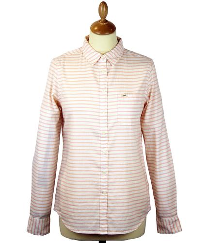 LEE JEANS WOMENS STRIPED WESTERN SHIRT PEACH