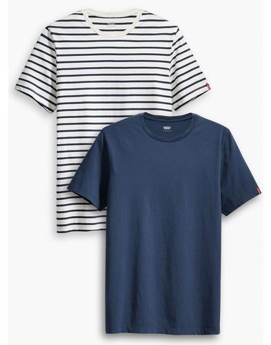 LEVI'S Retro Mod 2 Pack T-Shirt - Stripe/Plain Tee