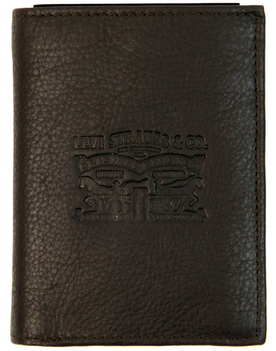 LEVI'S® Retro Trifold Tumbled Leather Wallet BROWN