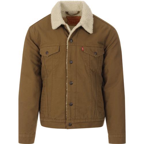 Guytalk Mens Sherpa Lined Corduroy Denim Jean Trucker Jacket