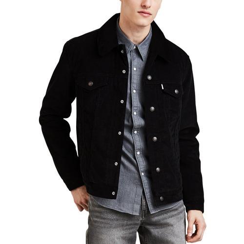 levi 39 s retro mod denim sherpa trucker jacket in berk black. Black Bedroom Furniture Sets. Home Design Ideas