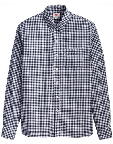 LEVI'S Sunset 1 Pocket Mens Mod Gingham Shirt (DB)