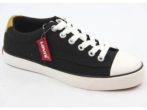 LEVI'S MENS RETRO MOD 70s STYLE TRAINERS BLACK