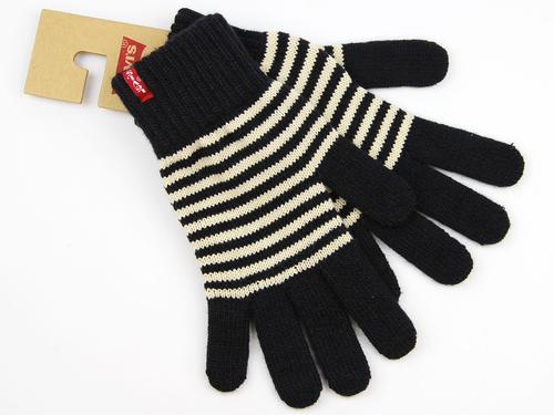 LEVIS RETRO KNITTED STRIPED GLOVES TELL NAVY