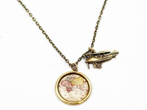 Atlas Pendant LOVE BOUTIQUE Vintage Map Necklace