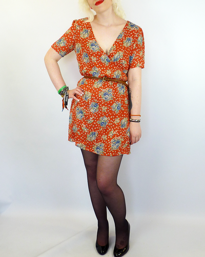 Holly LOVE STRUCK Retro 60s Mod Floral Wrap Dress