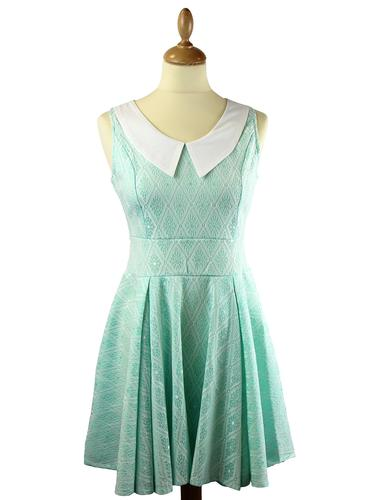 LOVESTRUCK RETRO MOD 60S LACE DRESS KIMBERLEY MINT