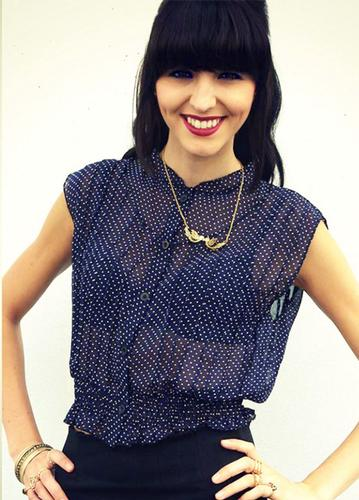 LOVESTRUCK RETRO MOD POLKA DOT SHIRT MELINA NAVY