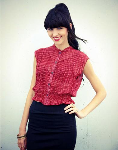LOVESTRUCK RETRO MOD POLKA DOT SHIRT MELINA RED